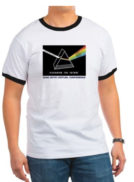 70s style tshirt reveals pink floyd inspired design of GOTA 2020 Conference shirt. One white bean of OT goes into prims and rainbow describing OT comes out other side.