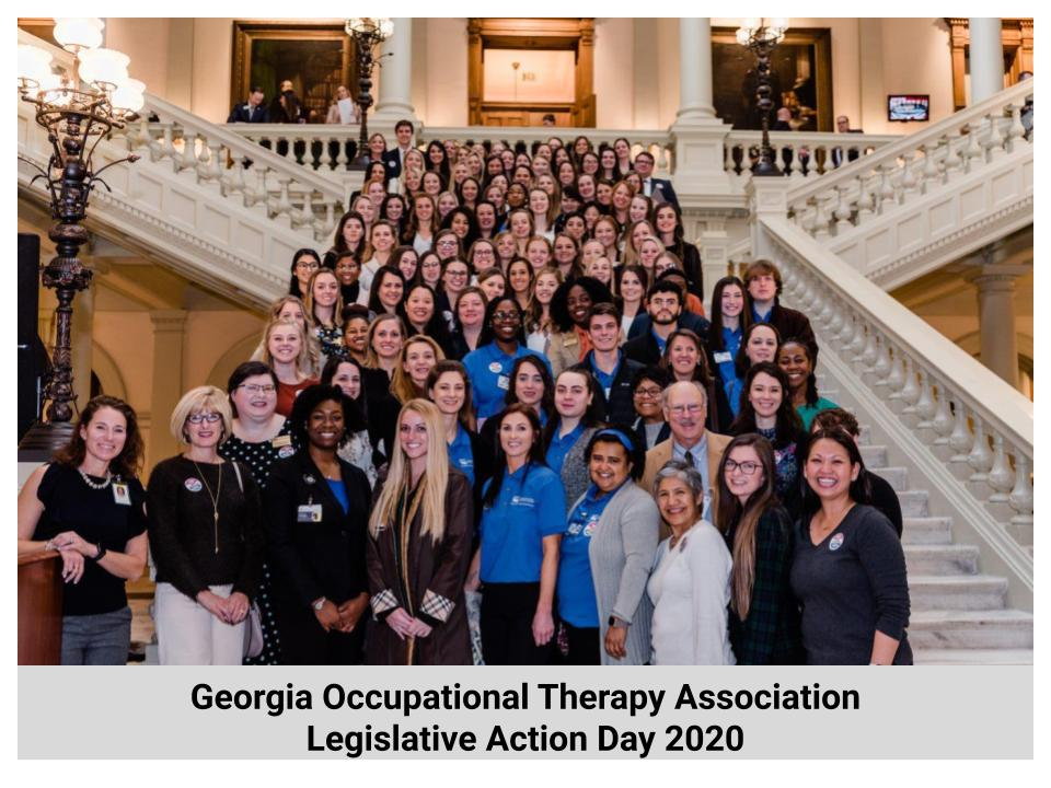 OTs stand inside the capital on steps, below the image the words read: Occupational Therapy Association Legislative Action Day 2020